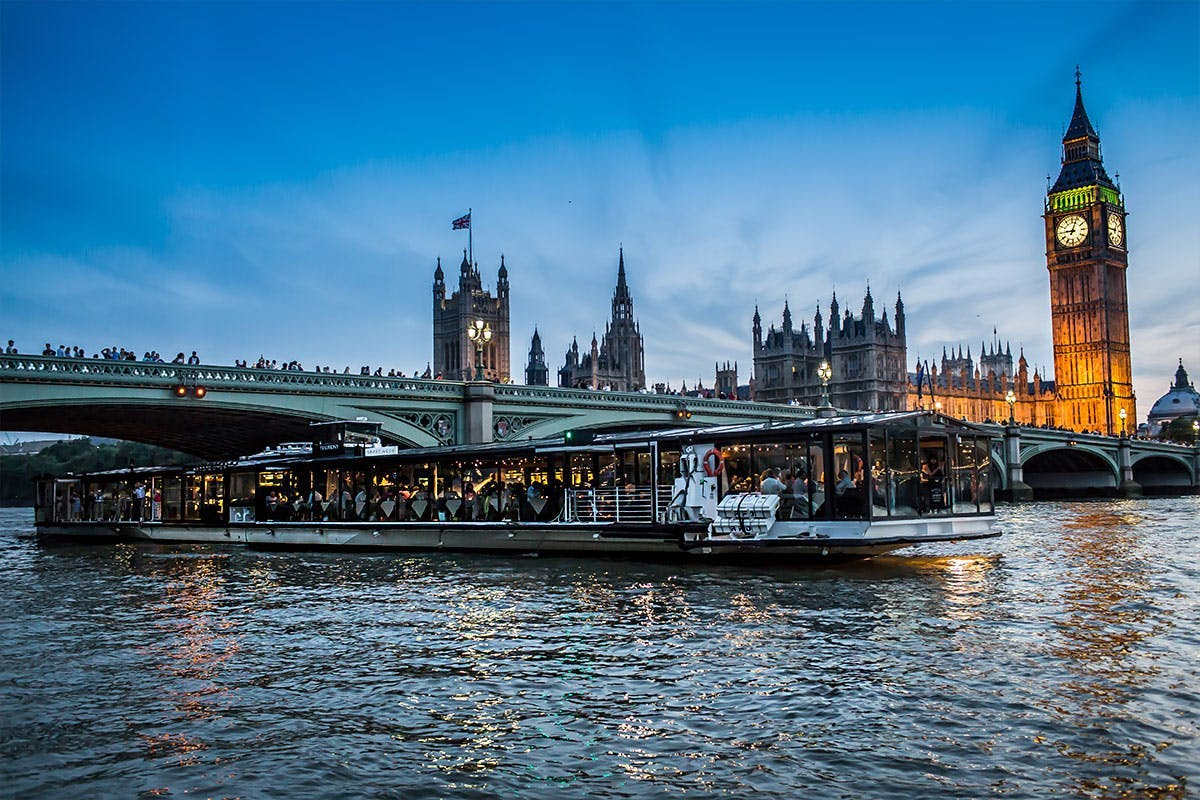 London Thames three course dinner cruise for two