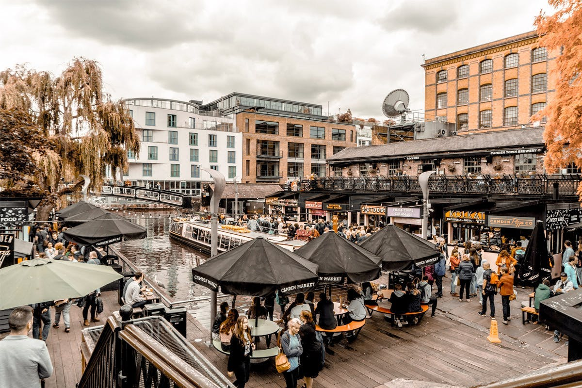 Busy Camden Market with various world food stalls