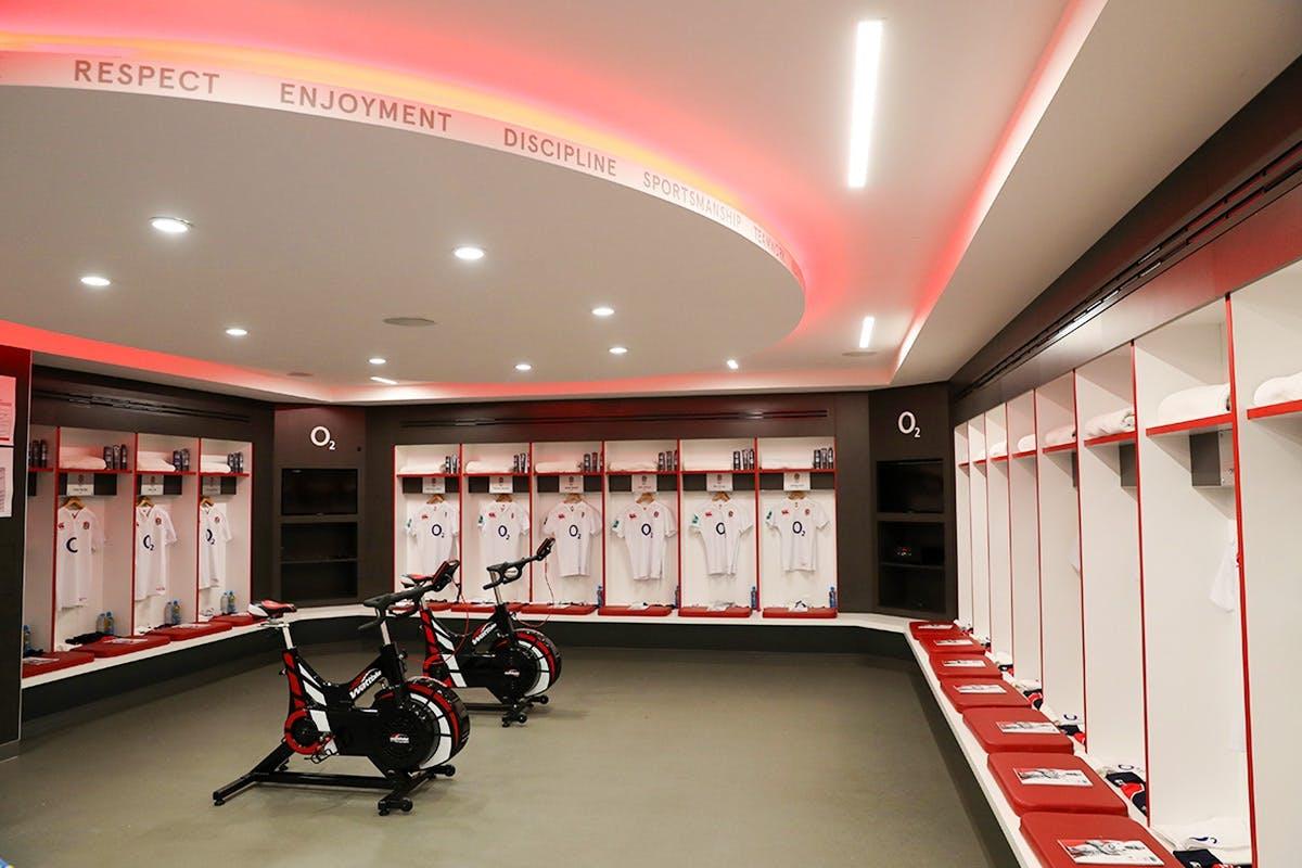 Twickenham Stadium tour image showing player dressing rooms and exercise bikes