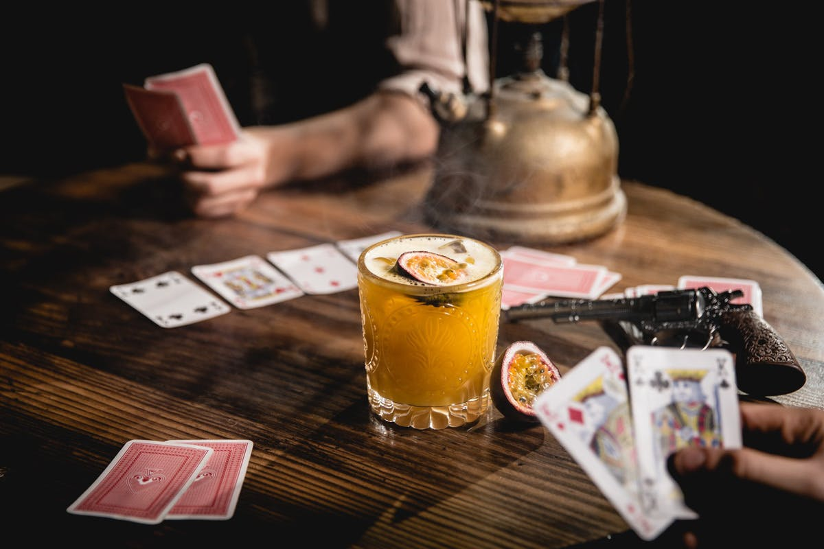 Wild Western themed bar in London with card games and cocktails