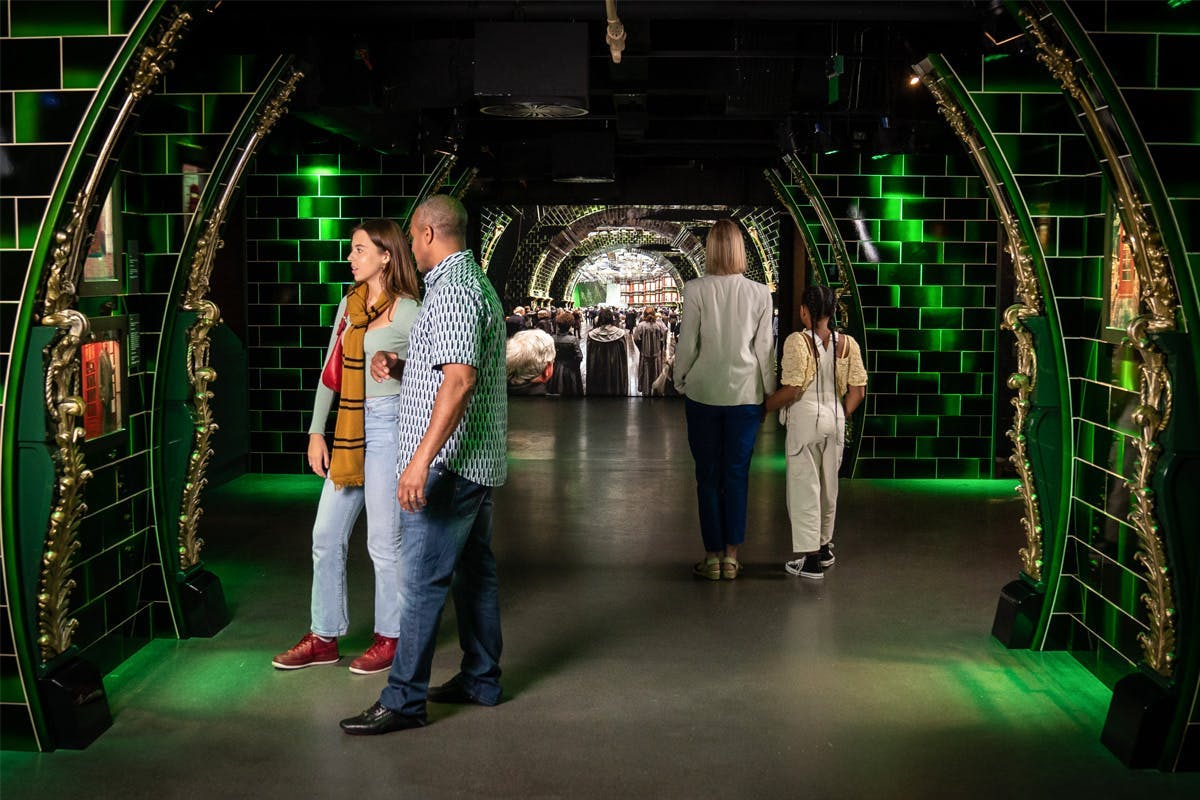 Harry Potter inspired museum exhibition with atmospheric lighting