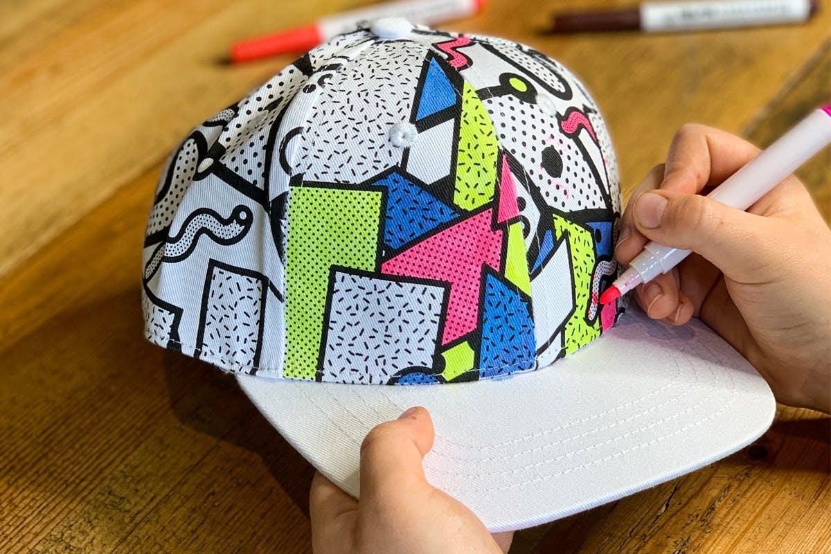 Children's Colour-In Creative Kit - Neo Memphis Cap