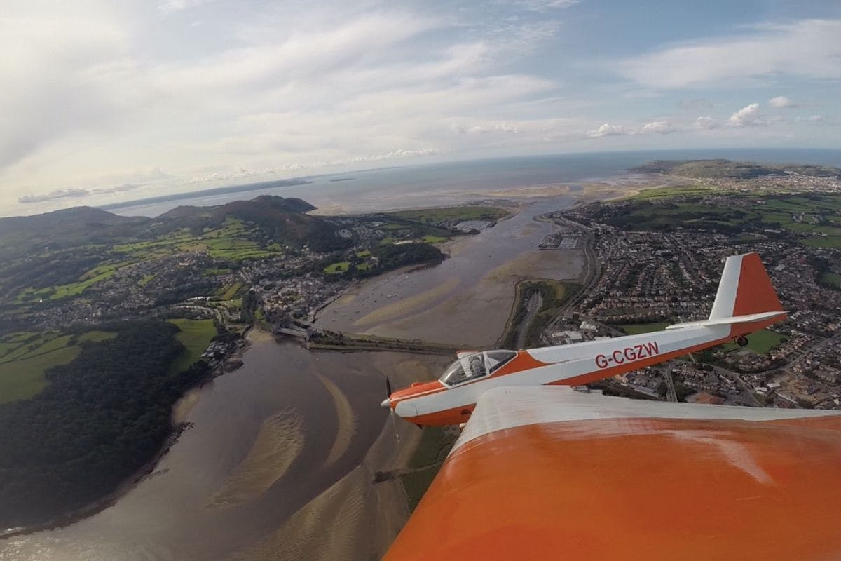Motor Glider Flight of the Beautiful North Wales Coast