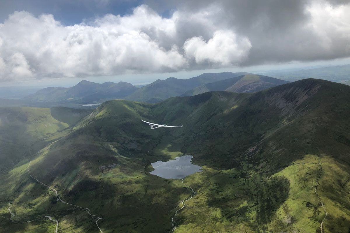 Motor Glider Flight of the Snowdonia Mountains and Lakes