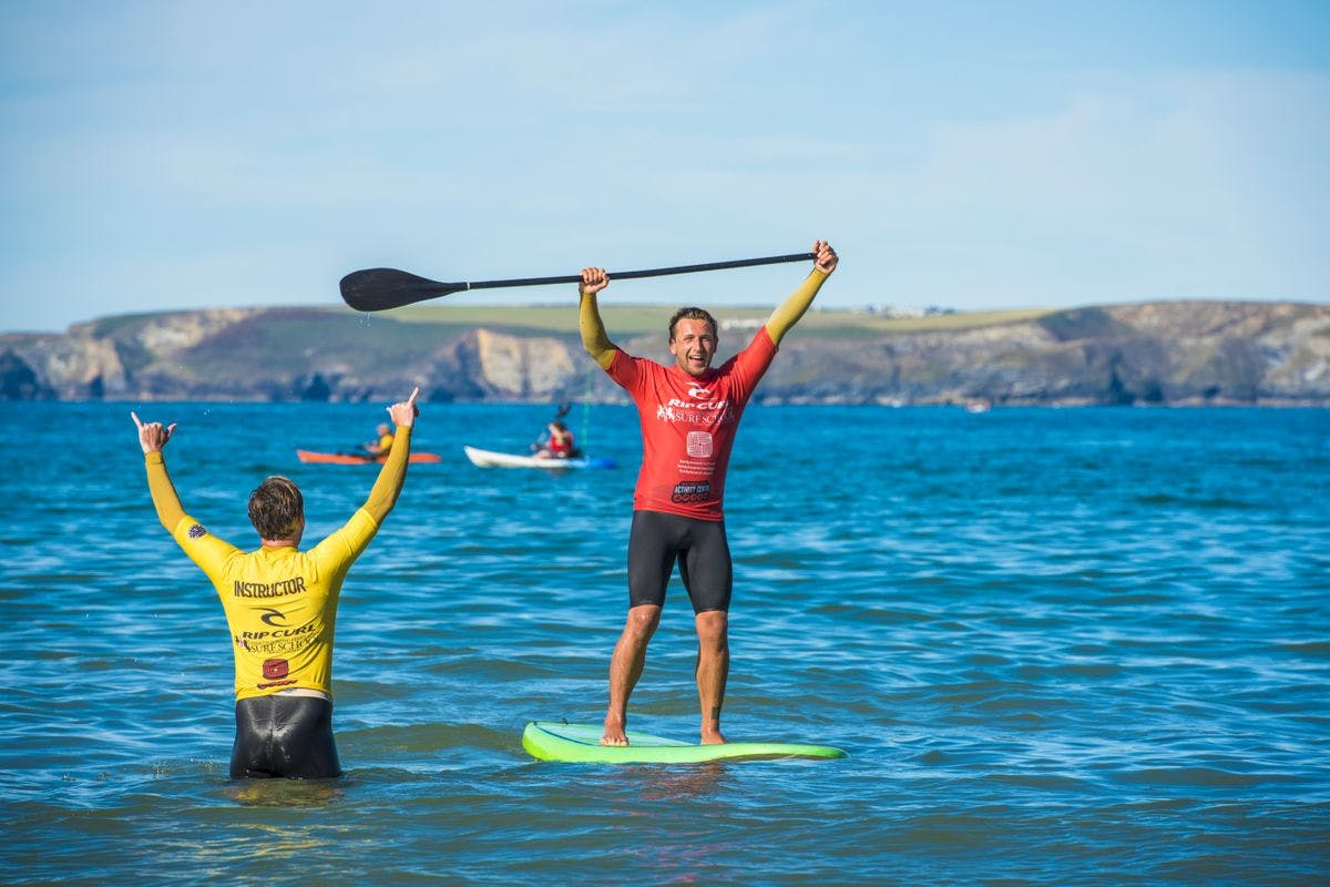 Private Stand-Up Paddleboard Lesson and Tour of Newquay Coastline for Four