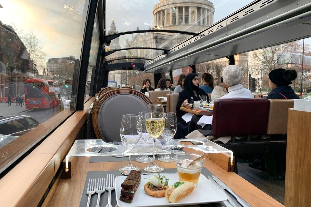 Six Course Dinner with Wine Pairing and Tour for Two aboard the Bustronome, London