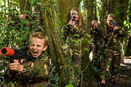 Forest Laser Tag Adventure with Pizza for Four