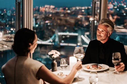 Sky High Private Three Course Dinner with Champagne and Wine for Two at the 5* Shangri-La Hotel, At The Shard