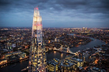 The View from the Shard and Three Course Champagne Celebration Dining with sides at Marco Pierre White's London Steakhouse Co for Two